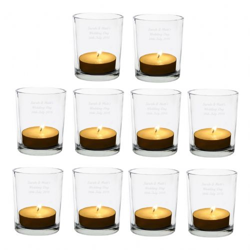 Pack of 10 Personalised Votive Tea Light Candle Holders